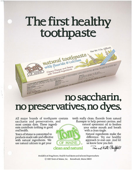 Tom's first healthy toothpaste